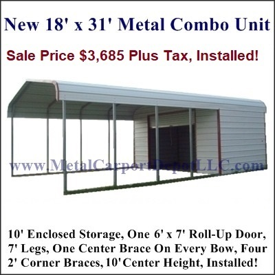 Metal carport depot advertized specials for Carport shop combo