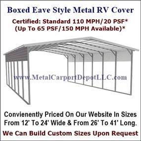 Boxed Eave Style Metal Rv Cover