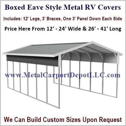 Boxed Eave Style Metal RV Covers For Sale