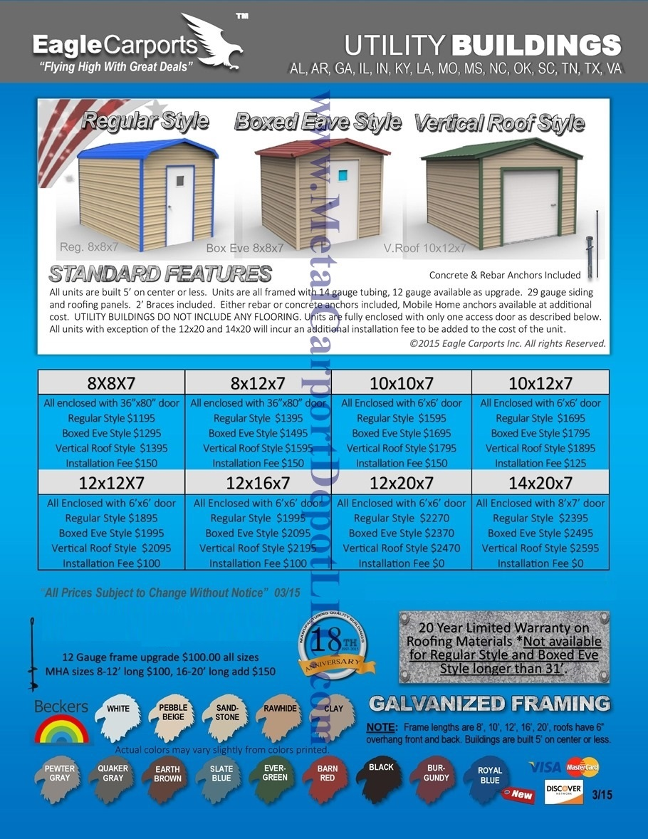 Metal Utility Shed Building Prices