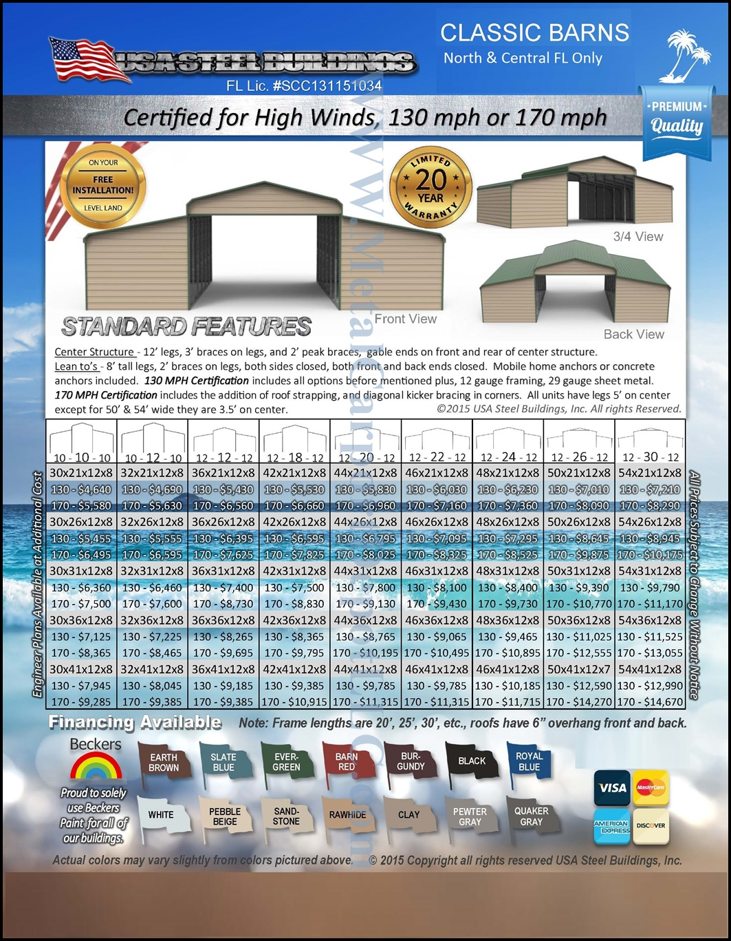 FL Regular Style Metal Red Barns Pricing