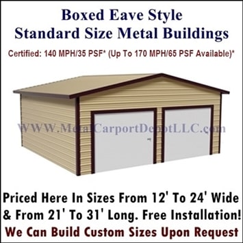Boxed Eave Style Metal Buildings For Sale