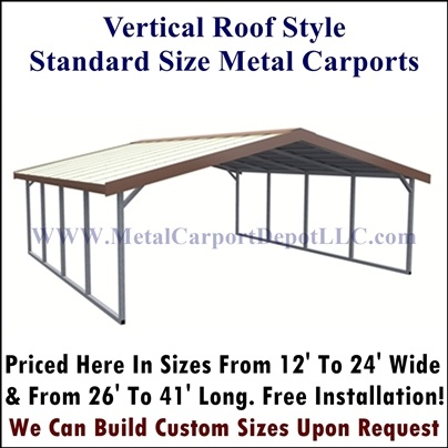 Vertical Style Metal Carport
