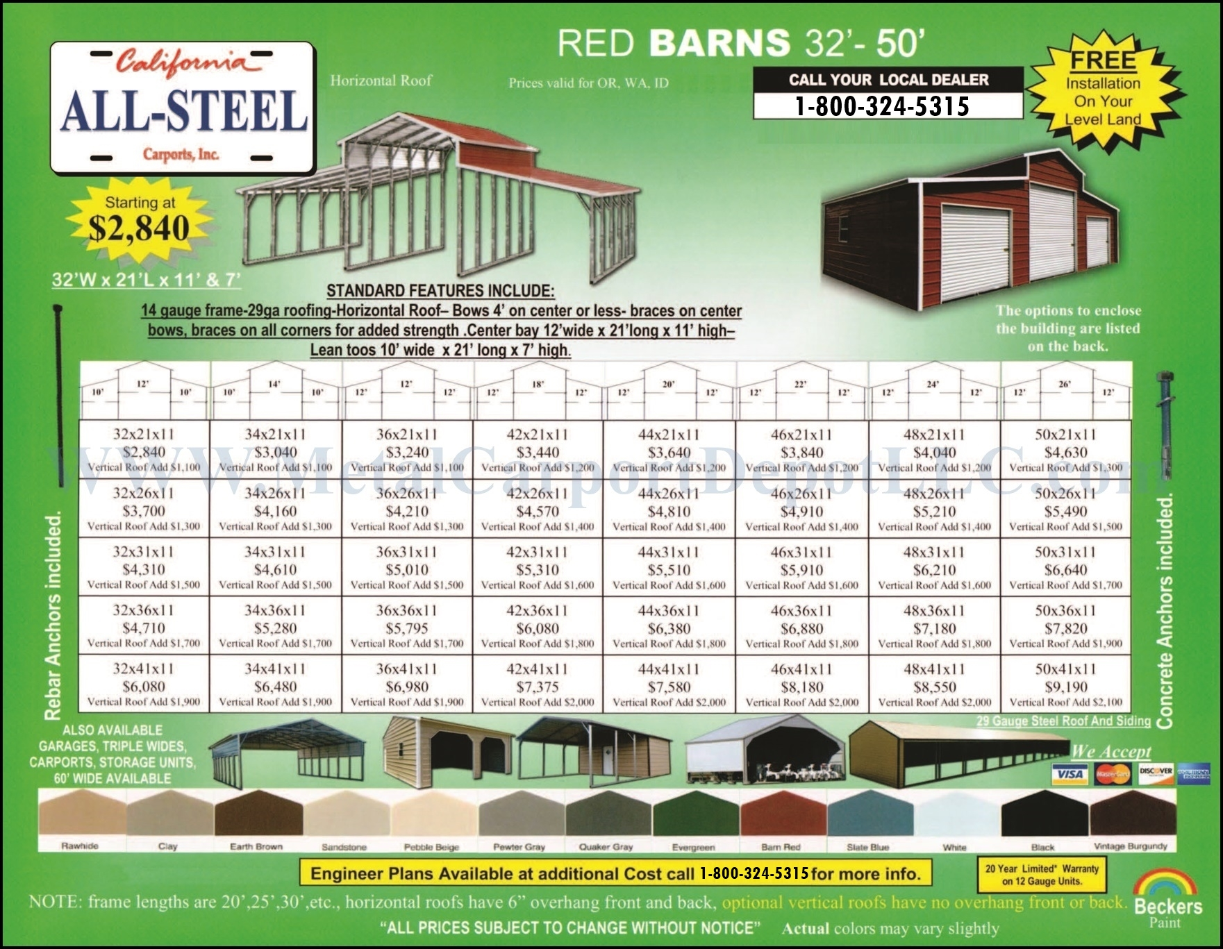 OR, WA, & ID Metal Red Barns Pricing