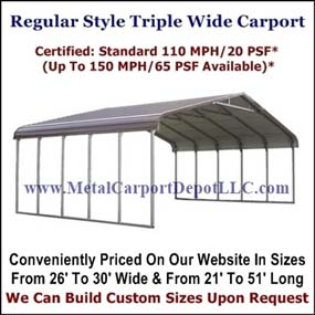 Eagle Regular Style Triple Wide Metal Carport