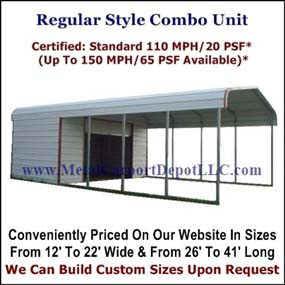Regular Style Metal Carport With Storage