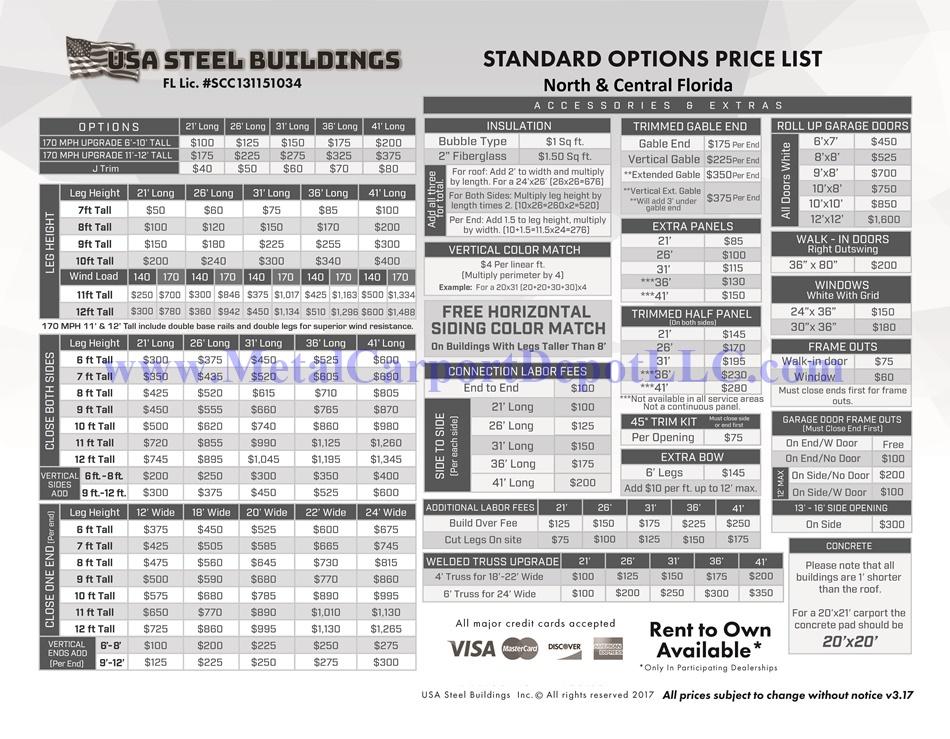Metal carport prices florida vertical roof double car for 16x10 garage door price