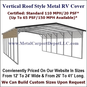 Eagle Vertical Roof Style Metal RV Covers