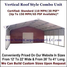 Vertical Roof Style Carport With Storage