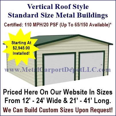 Vertical Roof Style Enclosed Garage
