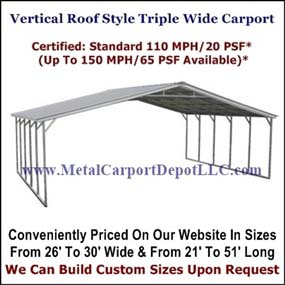 Eagle Vertical Roof Style Triple Wide Metal Carport