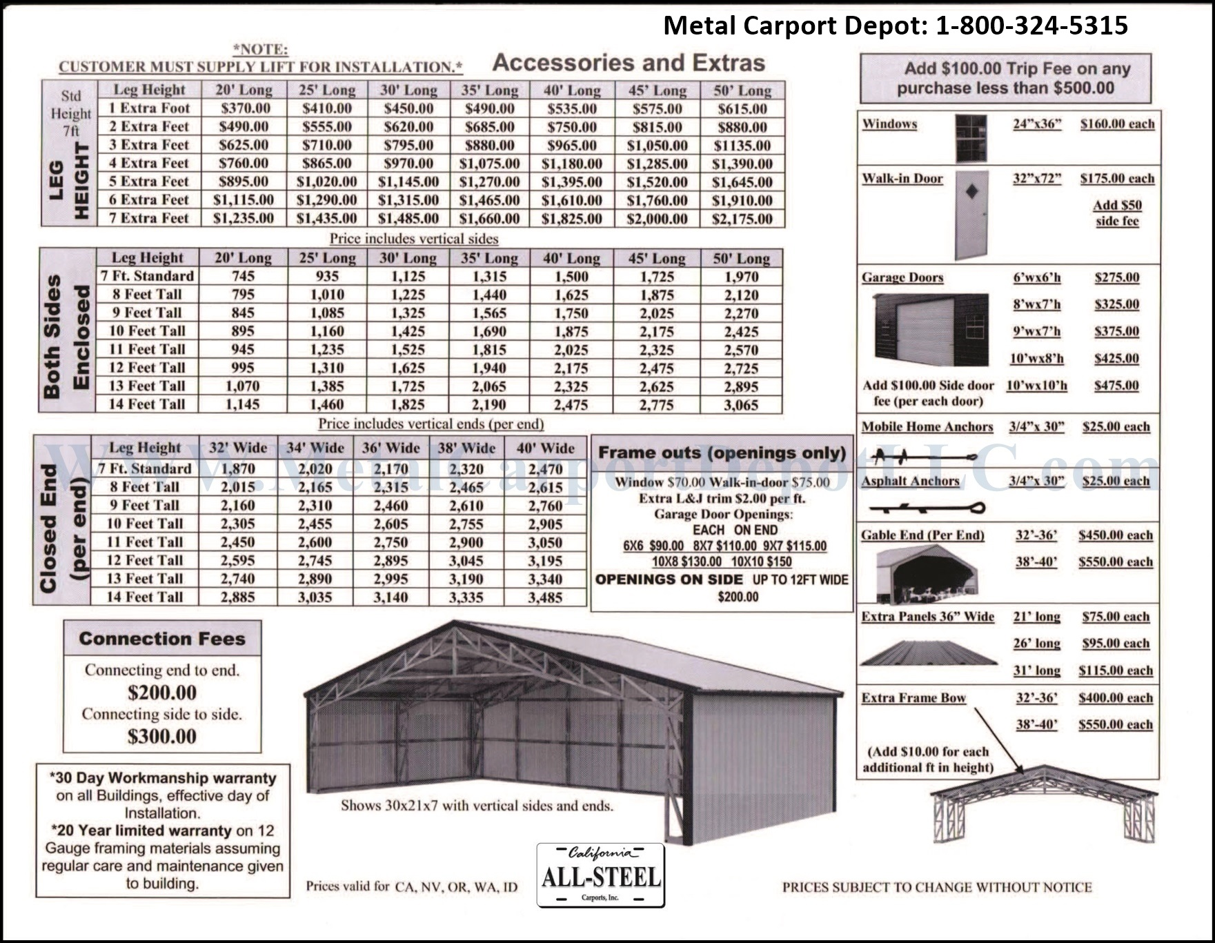Metal Structures 32 To 40 Wide Metal Carport Depot