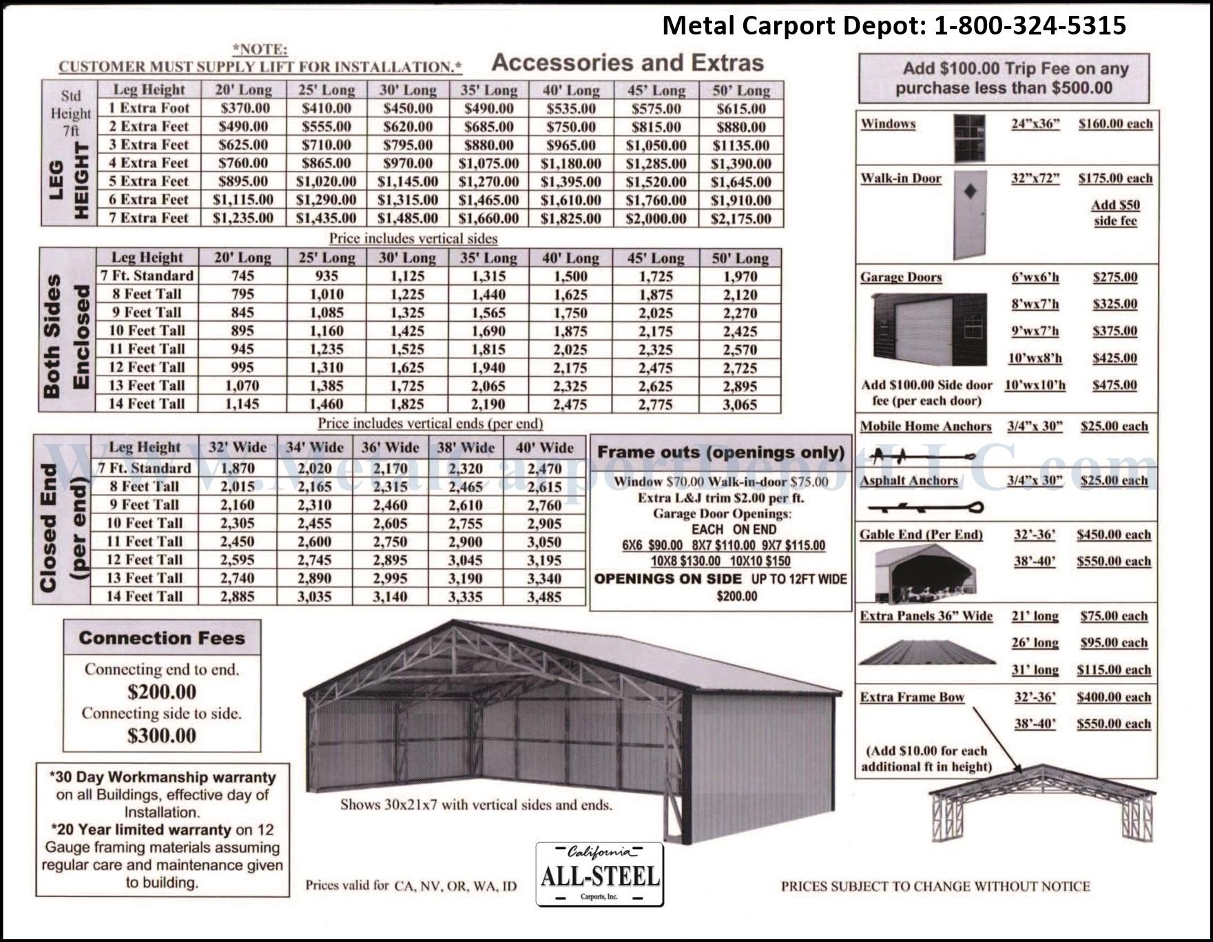 Metal Carport Sizes : Metal structures to wide carport depot
