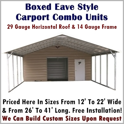 Boxed Eave Style Carport Combo Units
