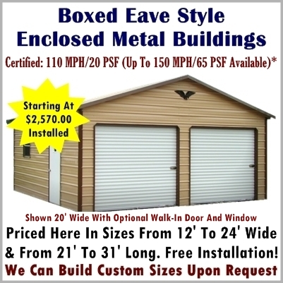 Regular Style Metal Buildings Boxed Eave Style Metal Buildings. Metal Buildings   Enclosed Garages For Sale Online At Metal