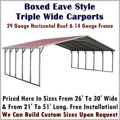 Boxed Eave Style Triple Wide Metal Carports