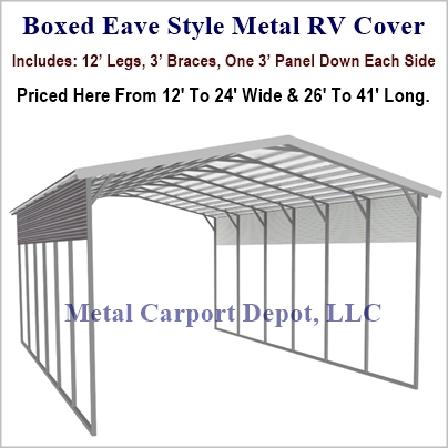 Boxed Eave Style Metal RV Cover Prices, Metal Carport Kit Prices ...