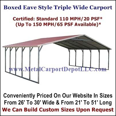 Eagle Boxed Eave Style Triple Wide Carport