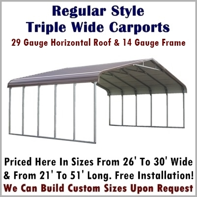 Regular Style Triple Wide Metal Carports