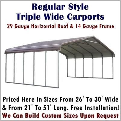 Regular Style Triple Wide Carport