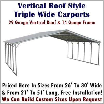 Vertical Roof Style Triple Wide Metal Carports