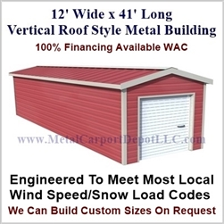 Metal Buildings Boxed Eave Style 12' x 41' x 8'