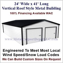 Metal Buildings Boxed Eave Style 24' x 41' x 8'