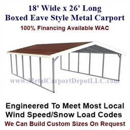 Boxed Eave Style Metal Carport 18' x 26' x 6'