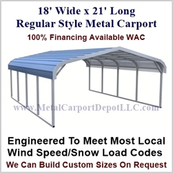 Regular Style Metal Carport 18' x 21' x 5'