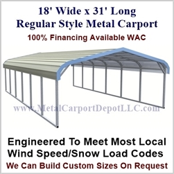 Regular Style Metal Carport 18' x 31' x 5'
