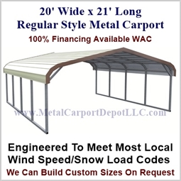 20\' x 21\' Regular Style Metal Carport. $1,545.00 - Free Installation!