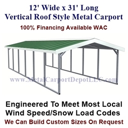 Boxed Eave Style Metal Carport with Vertical Roof 12' x 31' x 6'