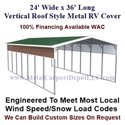 24' x 36' Vertical Roof Style Metal RV Cover