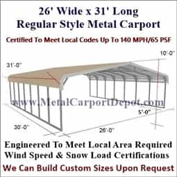 Triple Wide Regular Style Metal Carport 26' x 31' x 6'