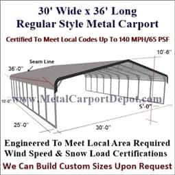 Triple wide 30 39 x36 39 regular style metal carport for just for 30 x 40 carport
