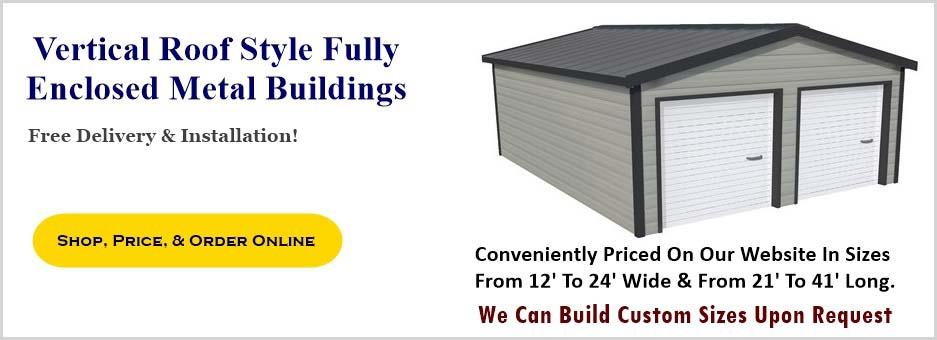 Metal Carport Depot Llc : Vertical roof style enclosed metal garage prices