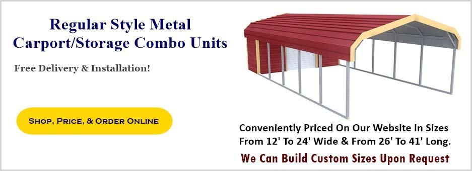 Regular Style Metal Carport & Storage Combo Unit Prices