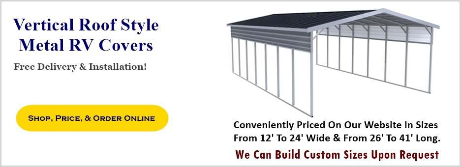 Metal Carport Depot Llc : Vertical roof style metal rv covers